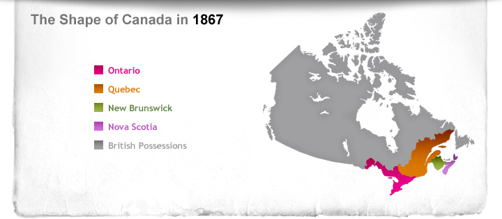 Map Of Canada July 1 1867.How Canadians Govern Themselves Time Travel Timeline Content