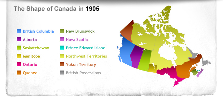 Map Of Canada 1905.How Canadians Govern Themselves Time Travel Timeline Content