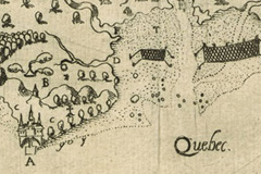 Map of Quebec City, drawn by Samuel de Champlain in 1608