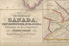 Map of Canada and the Maritime provinces in 1846