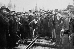 The last spike is driven in to complete the Canadian Pacific Railway in British Columbia, 1885