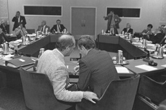 Prime Minister Pierre Elliott Trudeau and Jean Chrétien during a constitutional conference in 1981