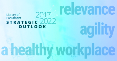 The title page of the Library of Parliament's Strategic Outlook 2017–2022 shows the three strategic priorities: relevance, agility and a healthy workplace.