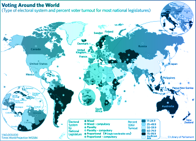 "The ""Voting Around the World"" map indicates the type of electoral system and percent voter turnout for most national legislatures."