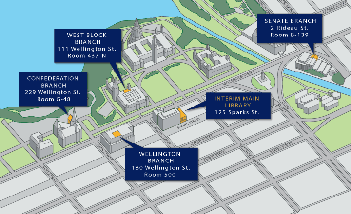 Map showing the Library's branches, west to east: Confederation Branch (229 Wellington Street, Room G-48), West Block Branch (111 Wellington Street, Room 437-N), Wellington Branch (180 Wellington Street, Room 500), Interim Main Library (125 Sparks Street), Senate Branch (2 Rideau Street, Room B-139)