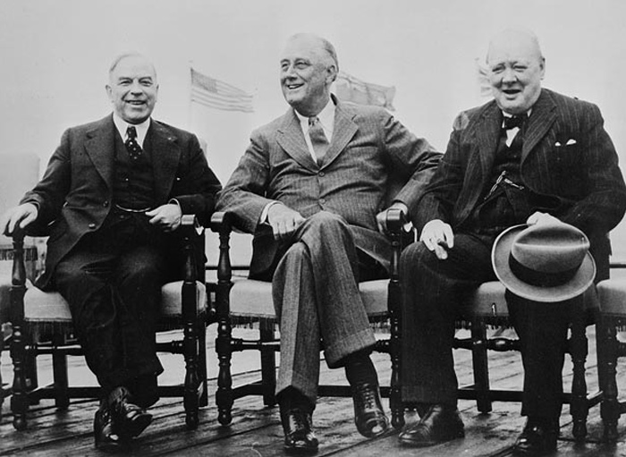 From left to right: Rt. Hon. Mackenzie King, President Franklin D. Roosevelt and Rt. Hon. Winston Churchill at the Quebec Conference