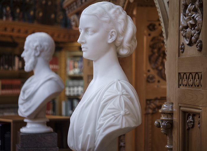 Photograph of a side view of the bust of Alexandra, Princess of Wales, with the bust of Albert Edward, Prince of Wales, in the background